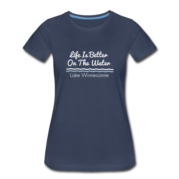 Life Is Better Lake Winneconne Premium Tee. - navy