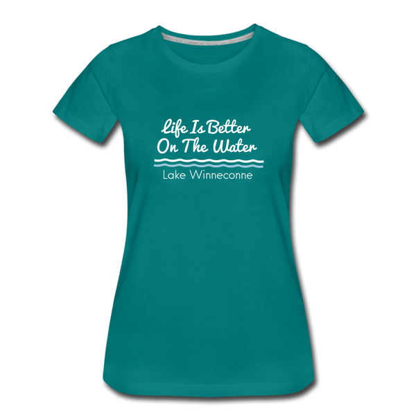 Life Is Better Lake Winneconne Premium Tee. - teal