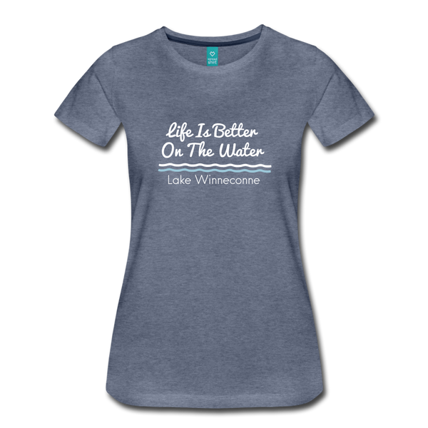 Life Is Better Lake Winneconne Premium Tee. - heather blue