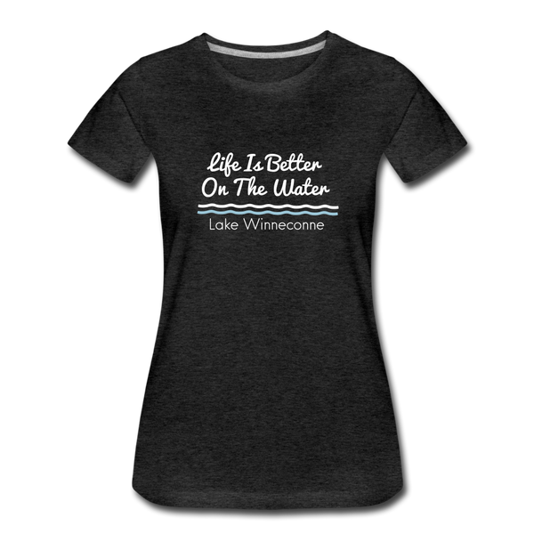 Life Is Better Lake Winneconne Premium Tee. - charcoal gray