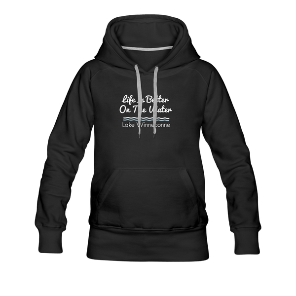 Life Is Better Lake Winneconne Women's Premium Hoodie. - black