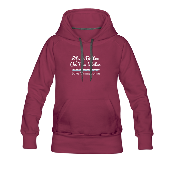 Life Is Better Lake Winneconne Women's Premium Hoodie. - burgundy