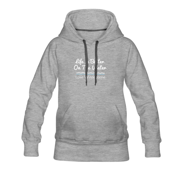 Life Is Better Lake Winneconne Women's Premium Hoodie. - heather gray
