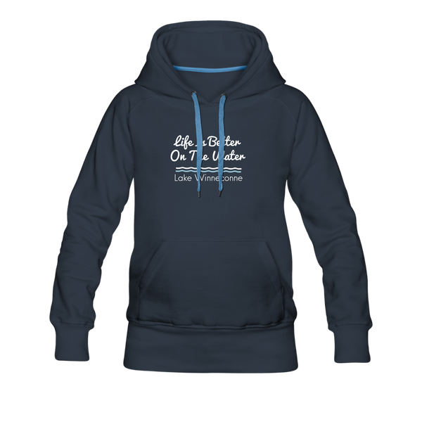 Life Is Better Lake Winneconne Women's Premium Hoodie. - navy