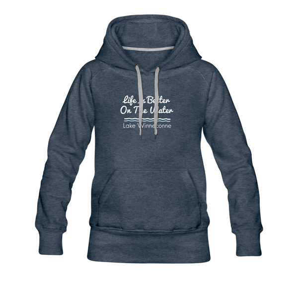 Life Is Better Lake Winneconne Women's Premium Hoodie. - heather denim