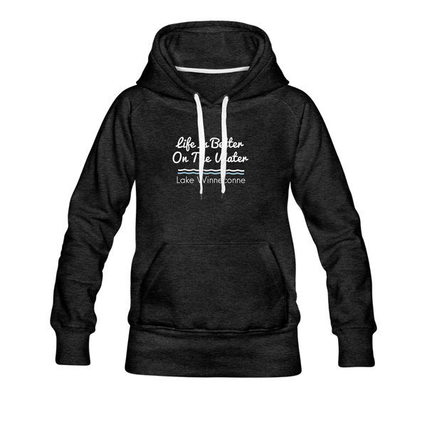 Life Is Better Lake Winneconne Women's Premium Hoodie. - charcoal gray