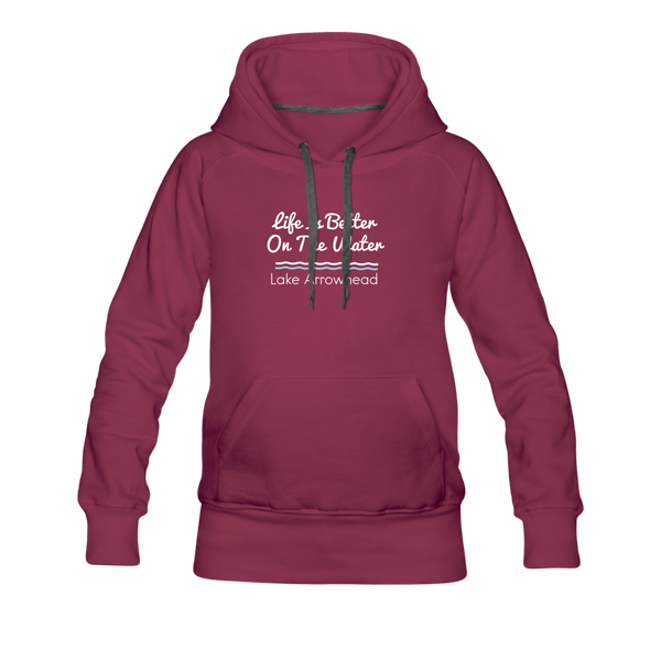 Life Is Better Lake Arrowhead Women's Premium Hoodie. - burgundy