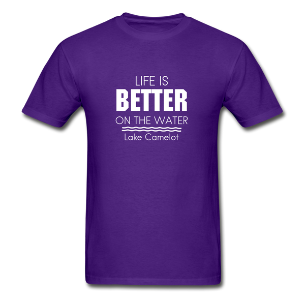 Life Is Better Lake Camelot Unisex Tee - purple