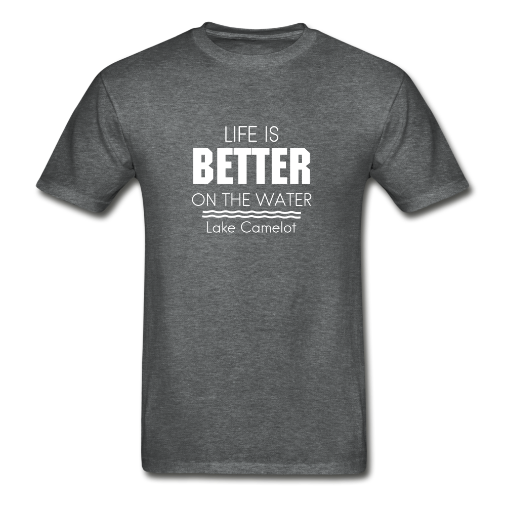 Life Is Better Lake Camelot Unisex Tee - deep heather