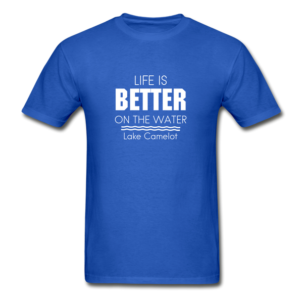 Life Is Better Lake Camelot Unisex Tee - royal blue