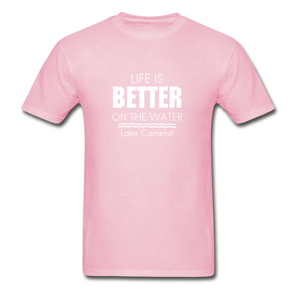Life Is Better Lake Camelot Unisex Tee - light pink
