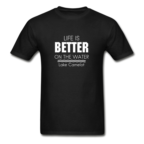 Life Is Better Lake Camelot Unisex Tee - black