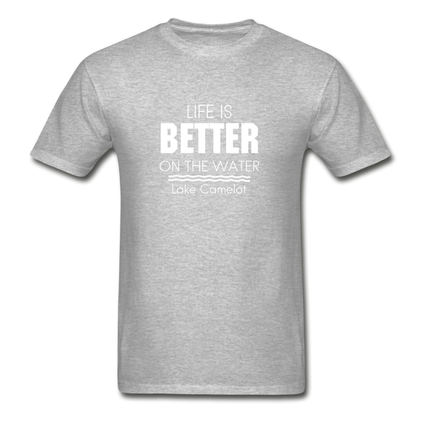 Life Is Better Lake Camelot Unisex Tee - heather gray