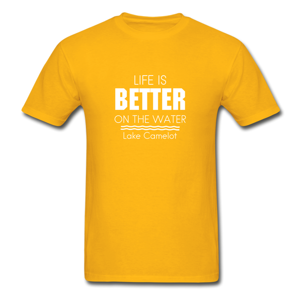Life Is Better Lake Camelot Unisex Tee - gold