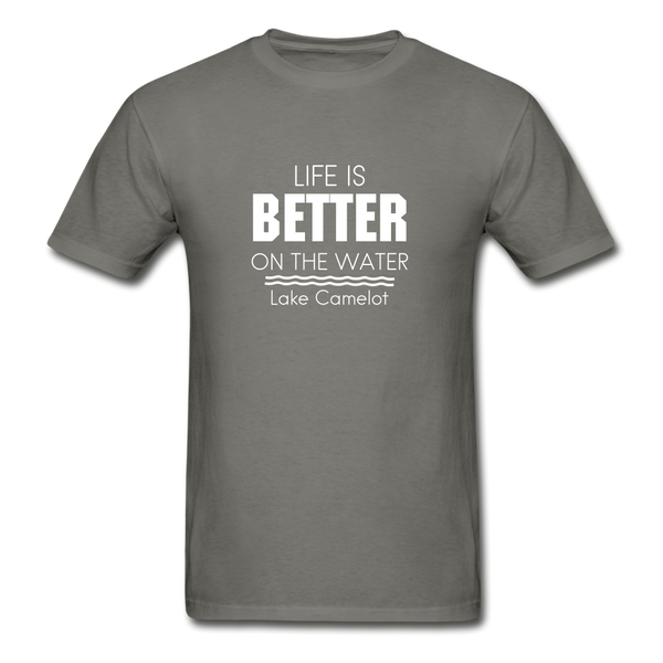Life Is Better Lake Camelot Unisex Tee - charcoal