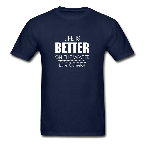 Life Is Better Lake Camelot Unisex Tee - navy