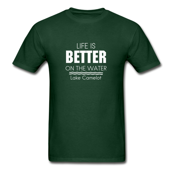Life Is Better Lake Camelot Unisex Tee - forest green