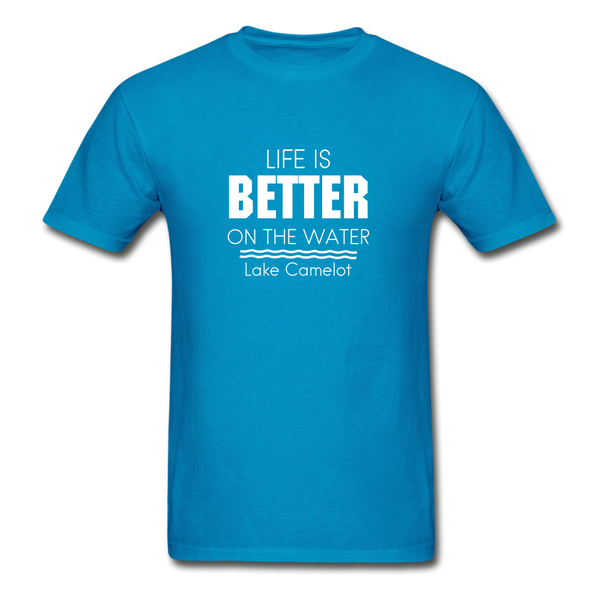 Life Is Better Lake Camelot Unisex Tee - turquoise