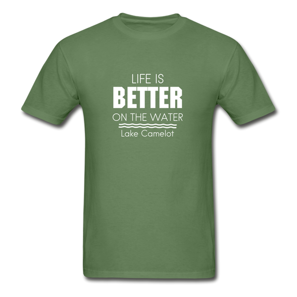 Life Is Better Lake Camelot Unisex Tee - military green
