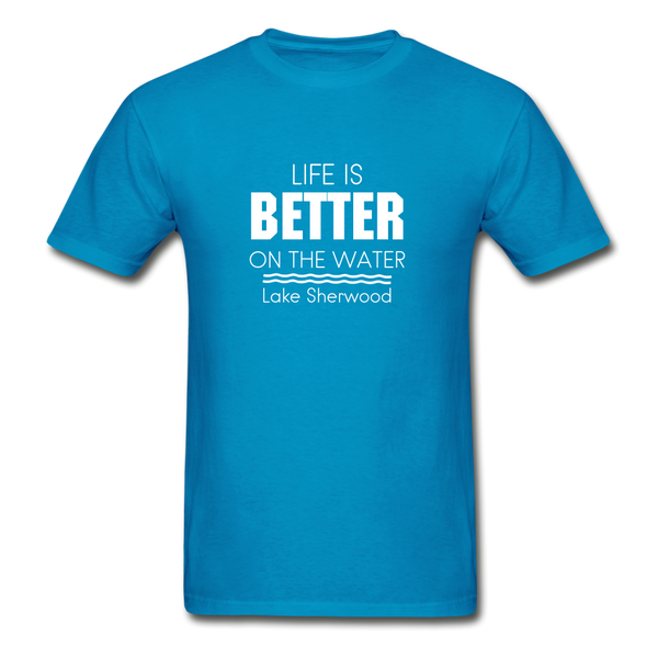 Life Is Better Lake Sherwood Unisex Tee - turquoise