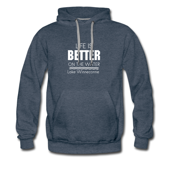 Life Is Better Lake WInneconne Men's Hoodie - heather denim