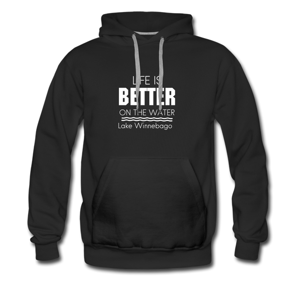 Life Is Better Lake Winnebago Men's Hoodie - black