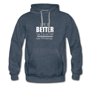 Life Is Better Lake Winnebago Men's Hoodie - heather denim