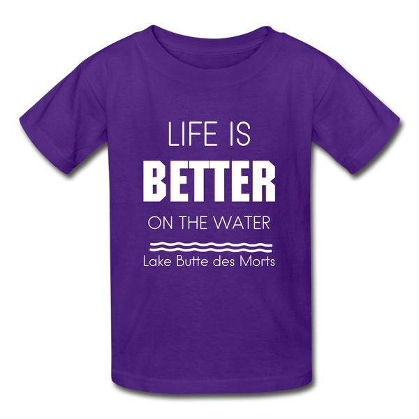 Life is Better Lake Butte des Morts Youth Tee - purple