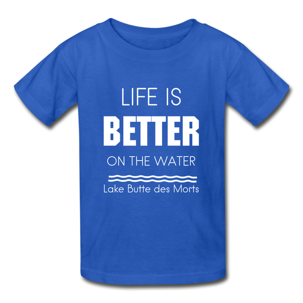 Life is Better Lake Butte des Morts Youth Tee - royal blue