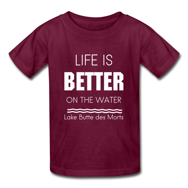 Life is Better Lake Butte des Morts Youth Tee - burgundy