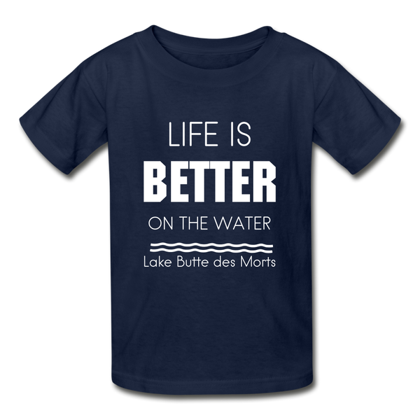 Life is Better Lake Butte des Morts Youth Tee - navy