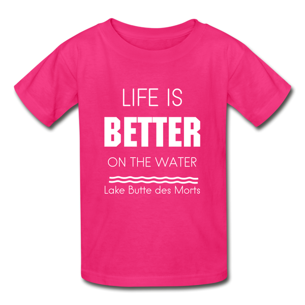 Life is Better Lake Butte des Morts Youth Tee - fuchsia
