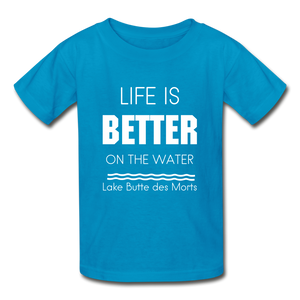 Life is Better Lake Butte des Morts Youth Tee - turquoise