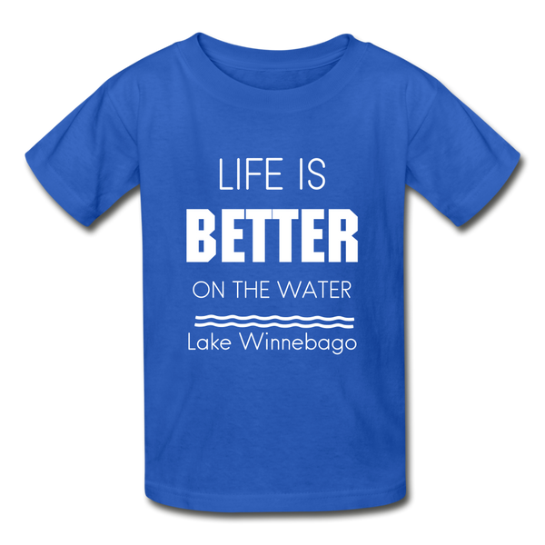 Life is Better Lake Winnebago Youth Tee - royal blue