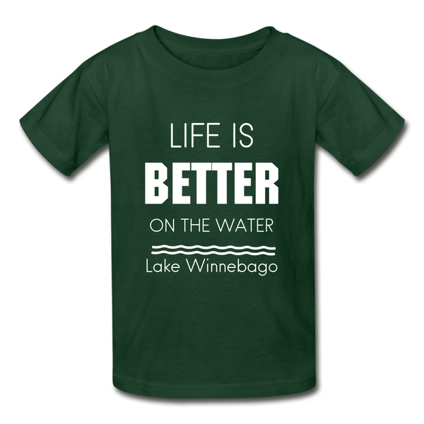 Life is Better Lake Winnebago Youth Tee - forest green