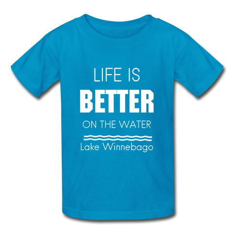 Life is Better Lake Winnebago Youth Tee - turquoise