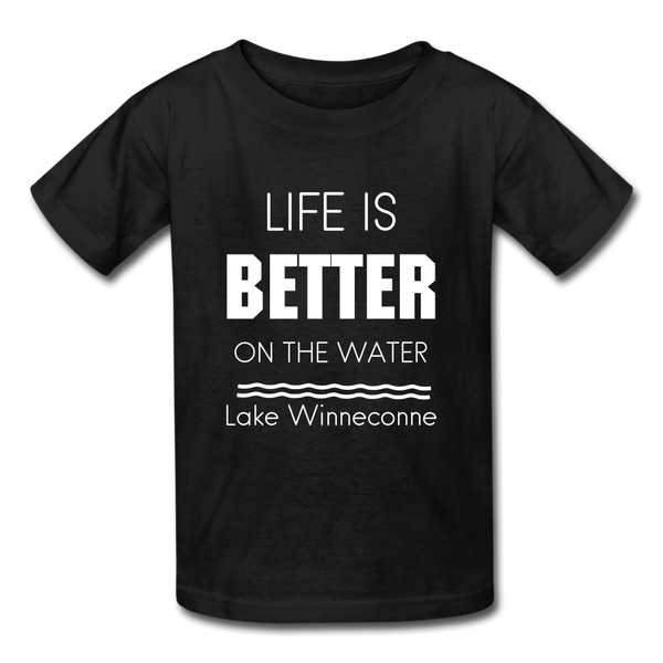 Life is Better Lake Winneconne Youth Tee - black