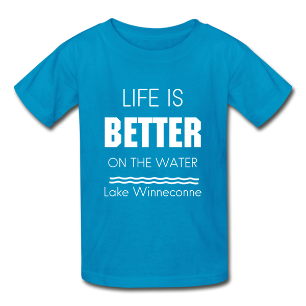 Life is Better Lake Winneconne Youth Tee - turquoise