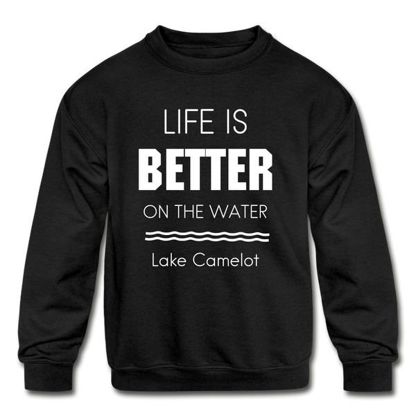 Life is Better Lake Camelot Youth Crewneck Sweatshirt - black
