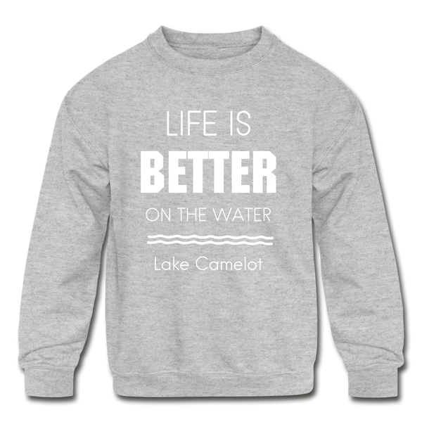 Life is Better Lake Camelot Youth Crewneck Sweatshirt - heather gray