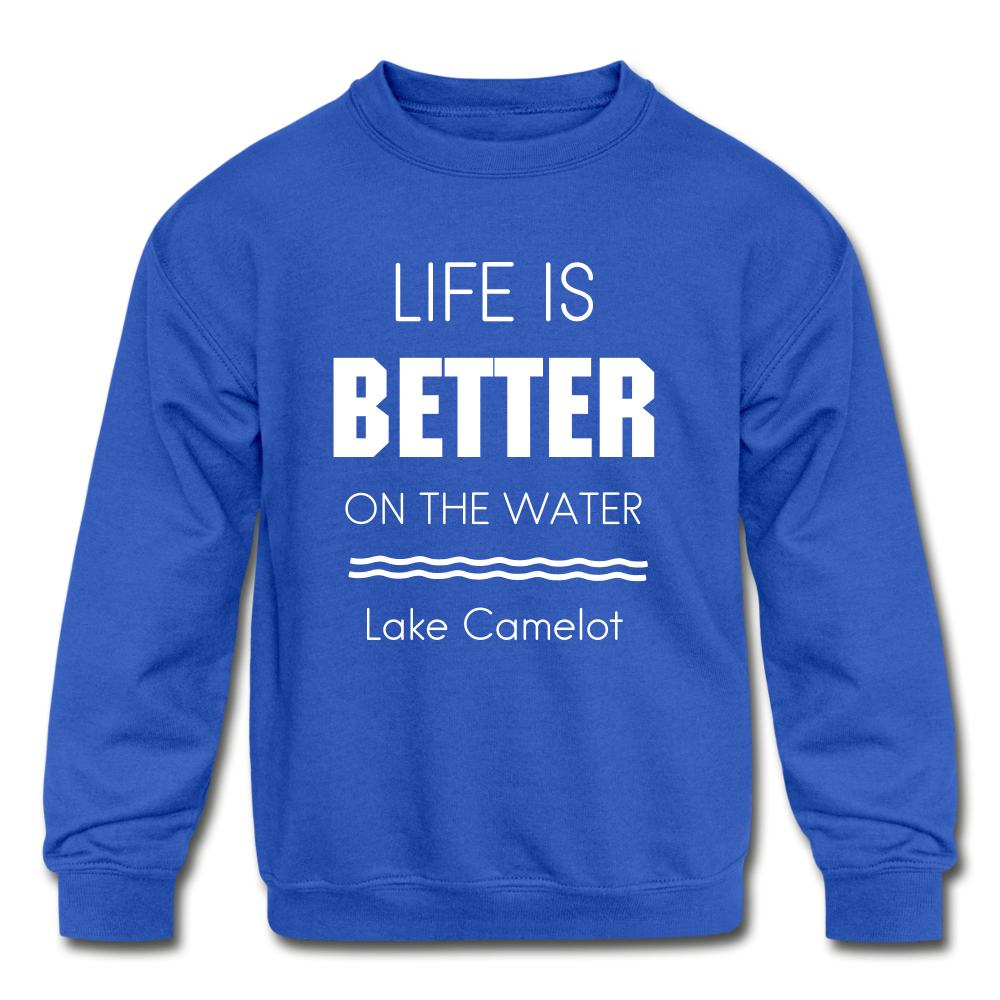 Life is Better Lake Camelot Youth Crewneck Sweatshirt - royal blue