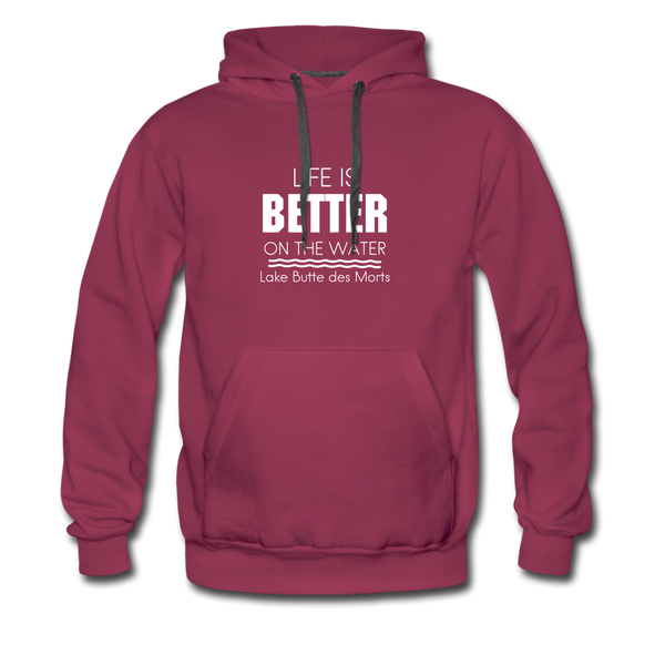 Life is Better Lake Butte des Morts Men's Hoodie - burgundy
