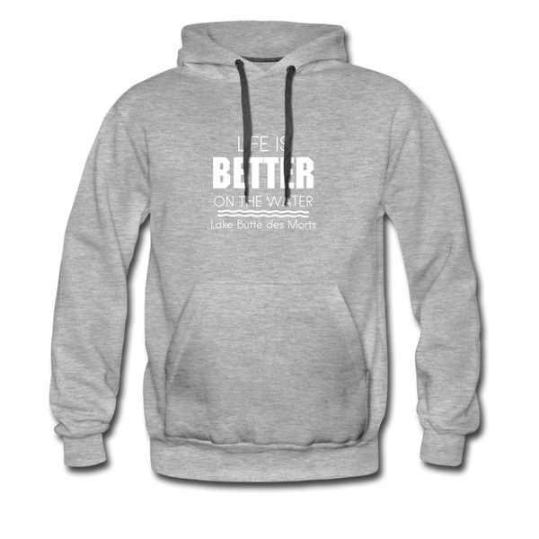 Life is Better Lake Butte des Morts Men's Hoodie - heather gray