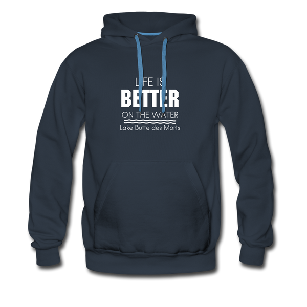 Life is Better Lake Butte des Morts Men's Hoodie - navy