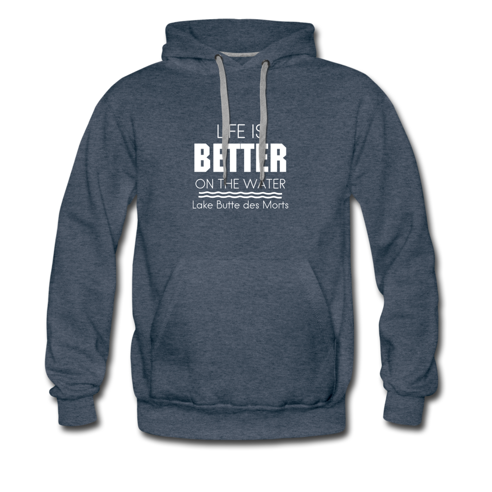 Life is Better Lake Butte des Morts Men's Hoodie - heather denim