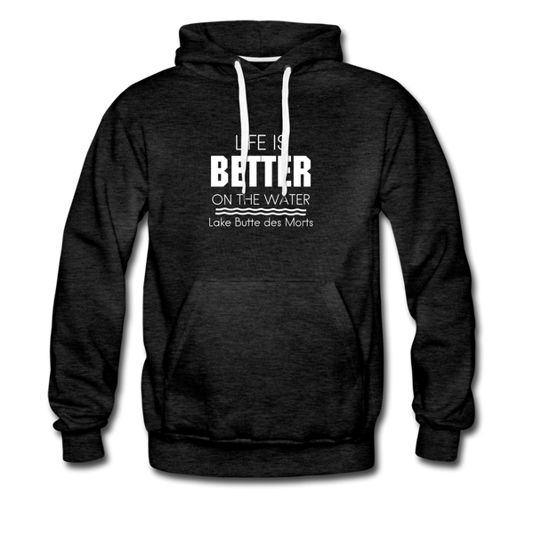 Life is Better Lake Butte des Morts Men's Hoodie - charcoal gray