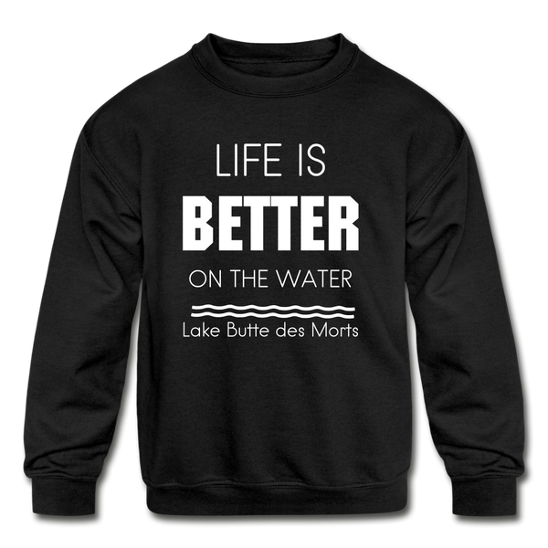 Life is Better Lake Butte des Morts Youth Sweatshirt - black
