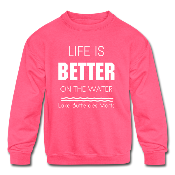 Life is Better Lake Butte des Morts Youth Sweatshirt - neon pink