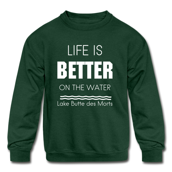 Life is Better Lake Butte des Morts Youth Sweatshirt - forest green