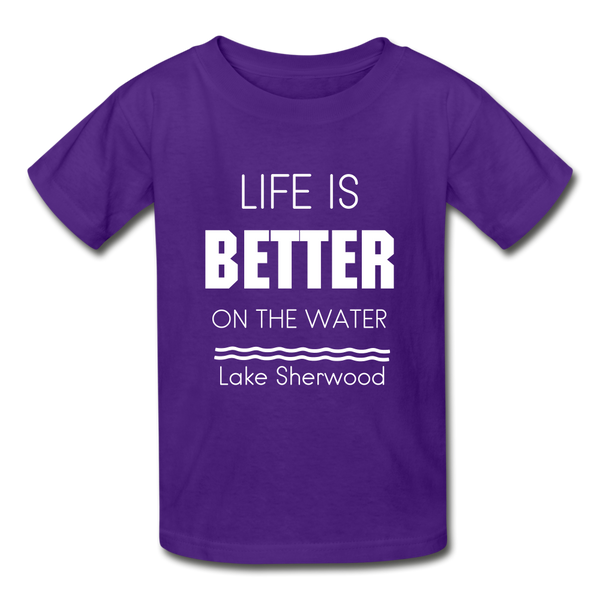 Life is Better Lake Sherwood Youth Tee - purple
